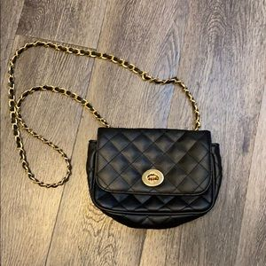 Quilted black and gold night out bag